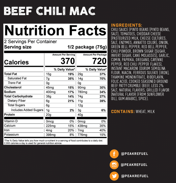 Peak Refuel- Beef Chili Mac