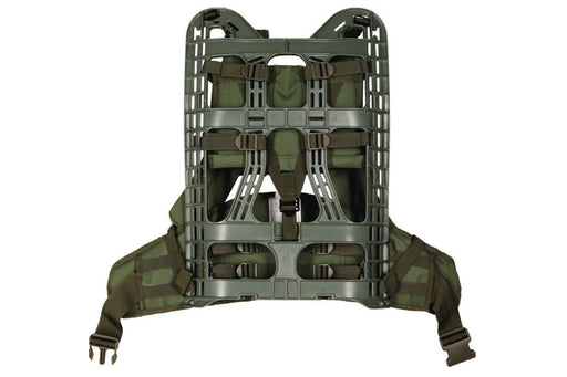 Mil-Spex M.O.L.L.E External Backpack frame with harness in a forest green color.