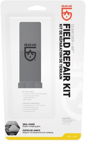Gear Aid Field Repair Kit 'Kit De Reparation De Terrain' product package with description 'Seal leaks, repair camping gear'.