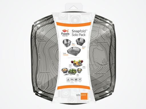 Fozzils Snapfold folding dish set for camping, car camping, home use, and travel.