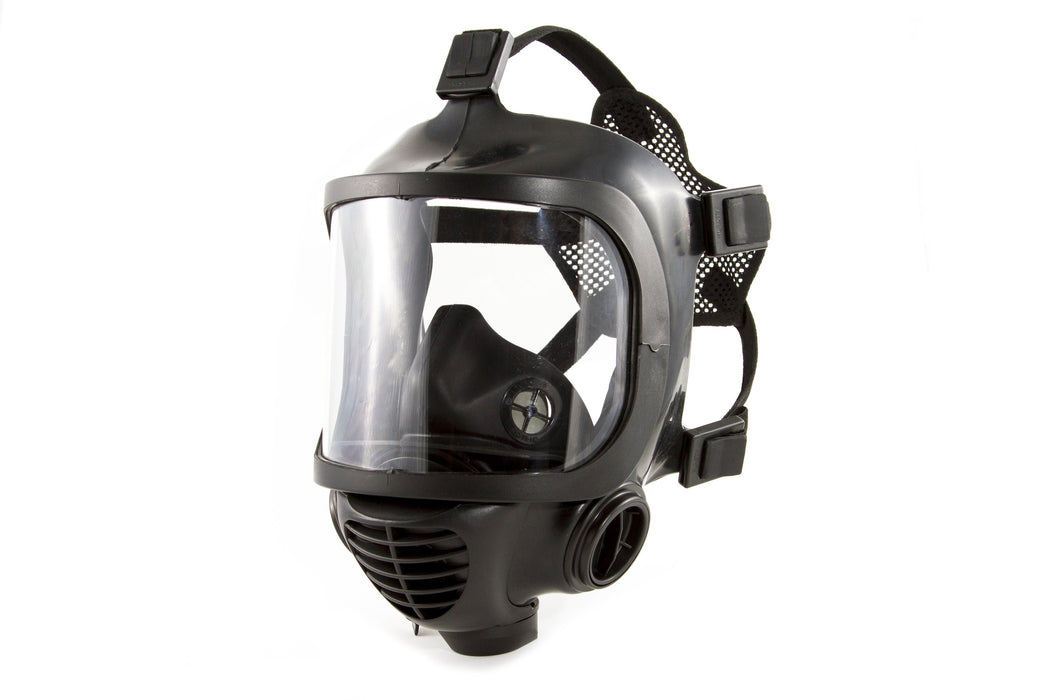 Side view of the CM-6M TACTICAL GAS MASK without drinking straw. Showcasing the respirator vents and the outside of the respirator filter zones. The head straps are shown attached to a netting that rests on the back of a persons head to keep the mask in place. All in a black rubber textured appearance on a white background.
