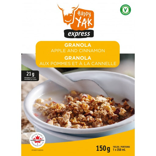 Happy Yak Express Granola - Apple and Cinnamon 'Granola - Aux Pommes Et A La Cannelle'.