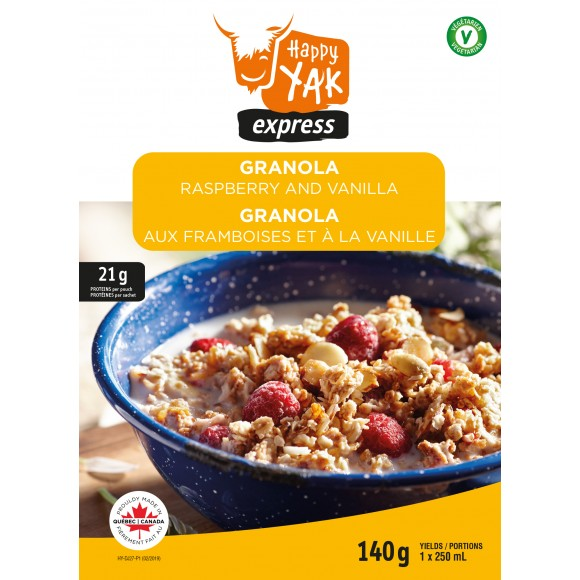 Happy Yak express Granola Raspberry and Vanilla freeze dried breakfast or lunch.