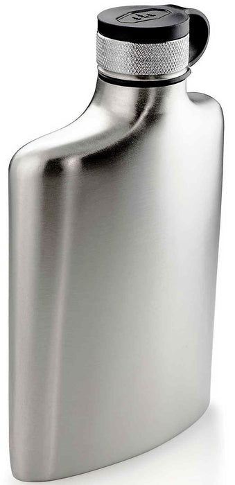 GSI Glacier Stainless steel flask with black cap.