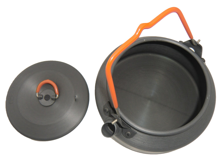 The Halulite Kettle with the lid off exposing the inside of the tea kettle.