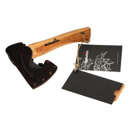 Premium Hultafors Agelsjon Mini Hatchet with a black leather sheath and an American HIckory shaft. Attached is the product tag and manual.