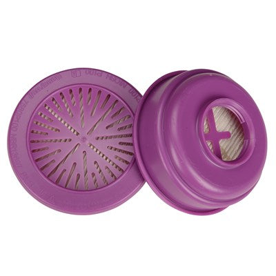 A pair of purple Cartridge Respirator Filters for North and Honeywell Respirators on a white background.
