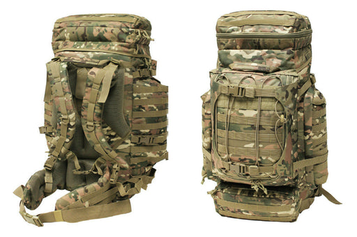 Mil-Spex Large 85 Litre Backpack with a classic army green camouflage. The back and front of the bag are shown, highlighting the storage compartments and the thick comfortable shoulder straps for long travel.