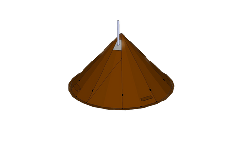 3d rendered design of the NorTent Iavvo 6 winter hot tent. The tent is a copper brown color with a ligh grey cylinder sticking out from the top of the tent.