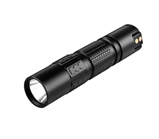 DM21C EDC Flashlight from IMALENT in matt black with the usb magnetic charge port showing and the 2,000 lumen lense exposed in front. Black ridged grips are edged around the flashlight body.