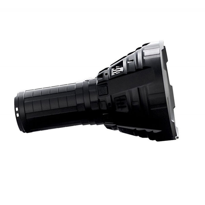 Imalent r90c Night Leader Flashlight with Mega-Thrower 1 mile range lens in black.