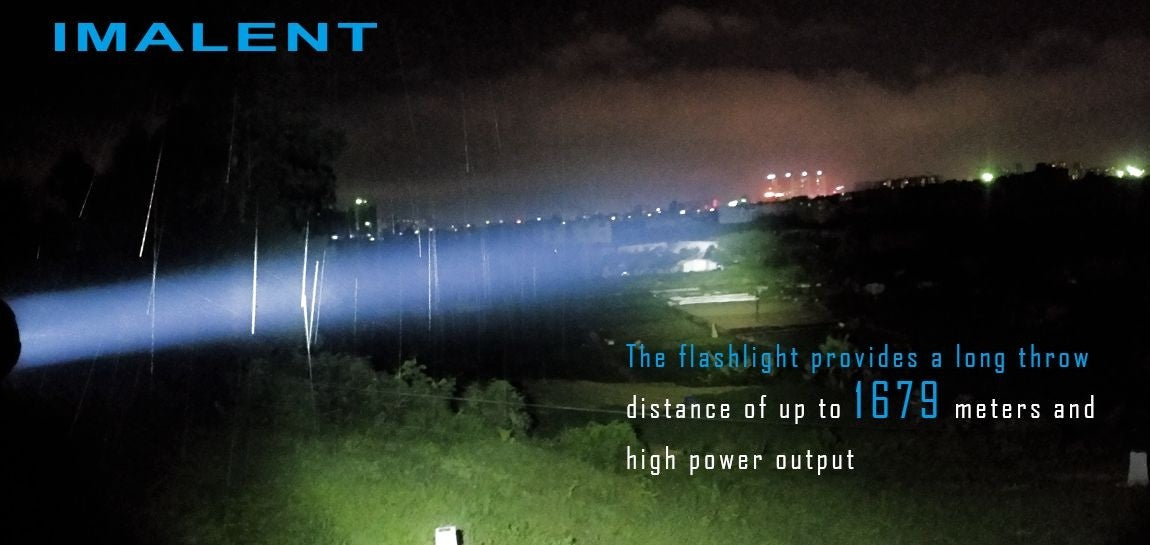 Imalent r90c night leader flashlight being demonstrated at night during a downpour.