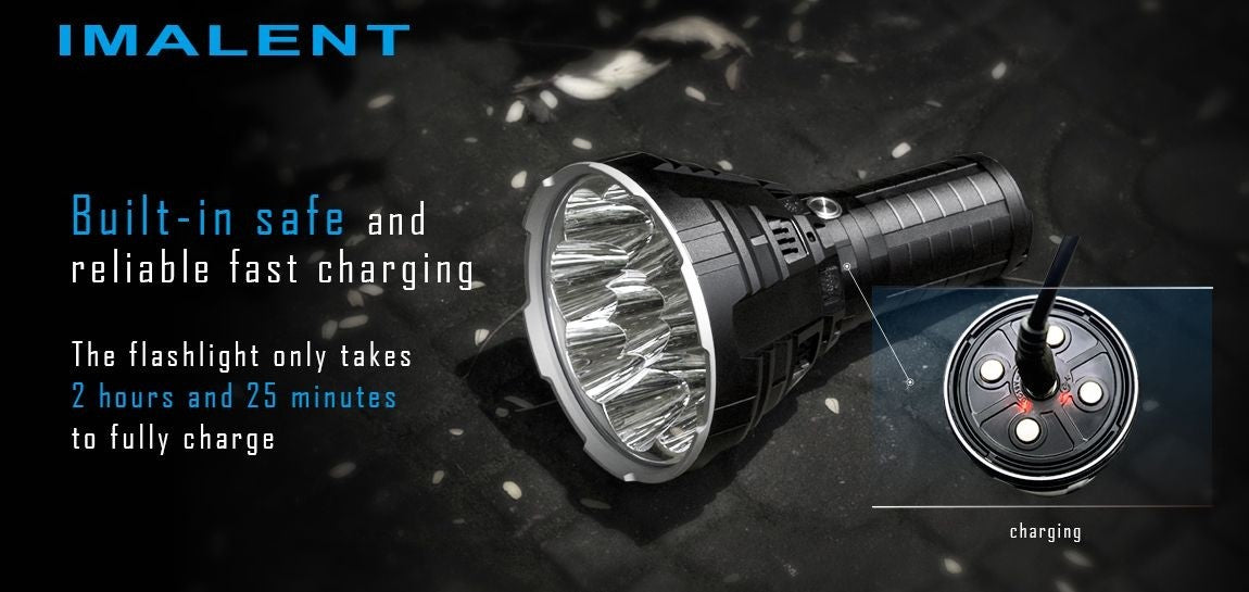 R90C Night Leader Flashlight Charging port with description 'only takes 20 hours and 25 minutes for a full charge'.
