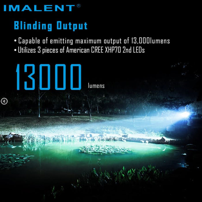 The Imalent ms03 being used to light up a pond at night, the description 'utilizes 3 pieces of American Cree XHp70 2nd Leds'.