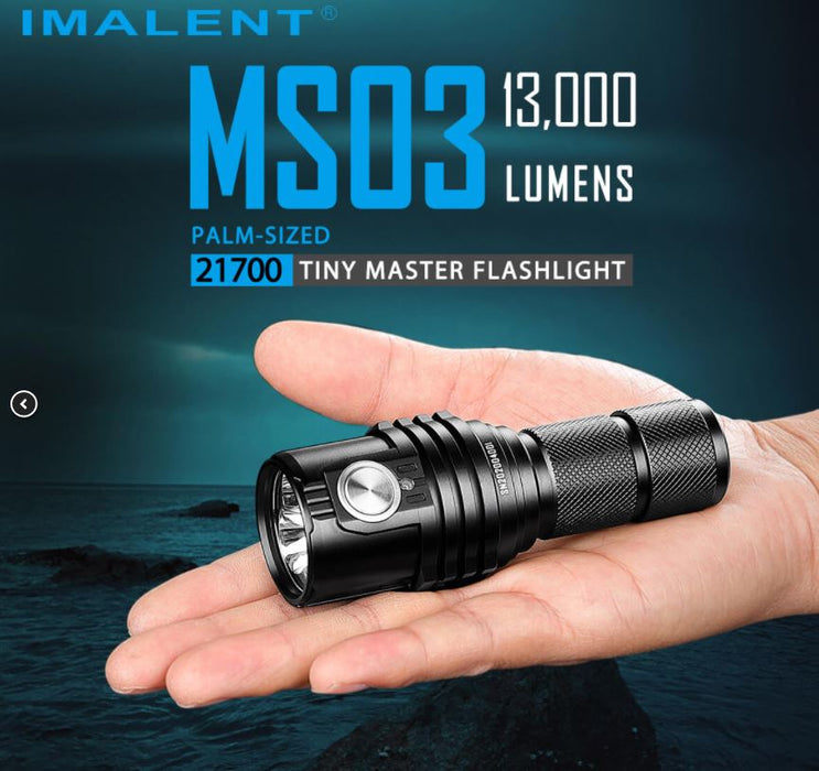 Imalet ms03 flashlight fitting in the palm of a persons hand over a ocean shore landscape.