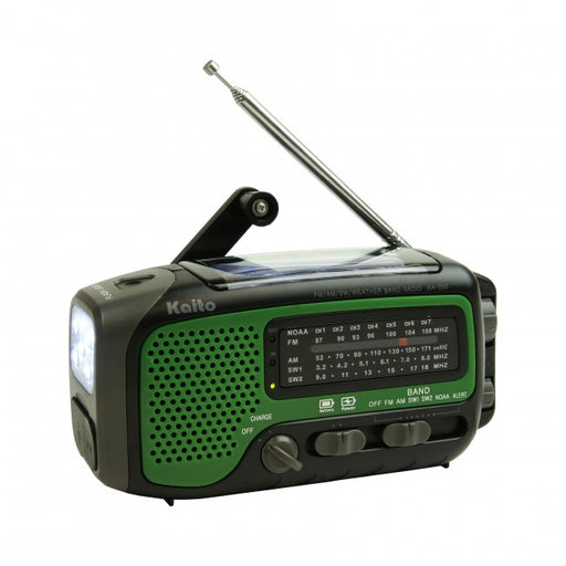 Kaito Voyager Trek KA 350 handheld radio with hand crank for power. In dark green, black, with grey buttons and dials.