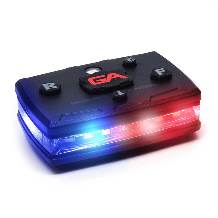 Guardian Angel Law Enforcement Light, the lighting shows Red and Blue colouring, the top of the device has lock, brightness level, rear, and front lighting modes.