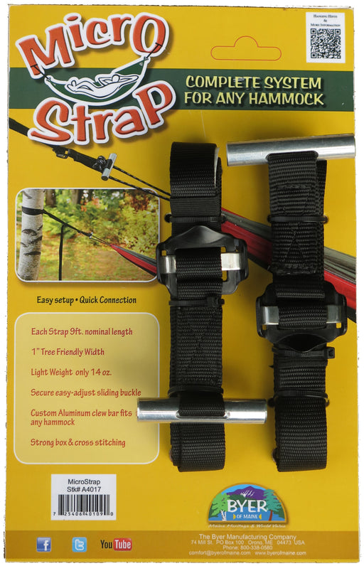 Microstrap for hanging hammocks on trees. The product box has an image of the strap wrapped around the tree and connected to the hammock end loop. The package is a gold colour with a green banner and red text logo.