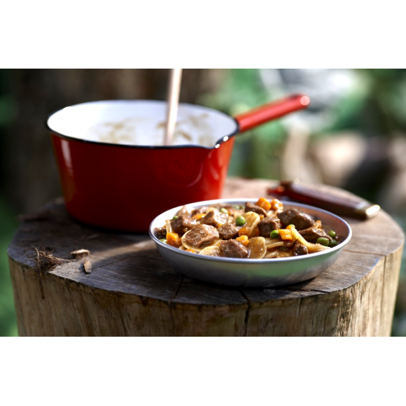 A bowl of beef stew from a Happy Yak freeze dried packet, beside a red camping pot on a tree stump.