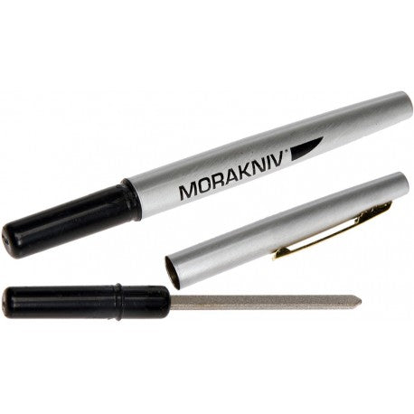 Pen designed Diamond Sharpener from Morakniv. The sharpener is shown out of the pen lid, the pen lid is a grey finish with the handle being black.