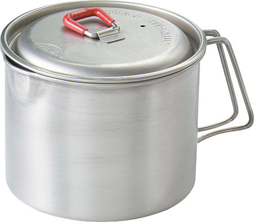 MSR Ultralight Titanium .85 L Camping Kettle Pot with side handle and a red rubberized handle on the lid.