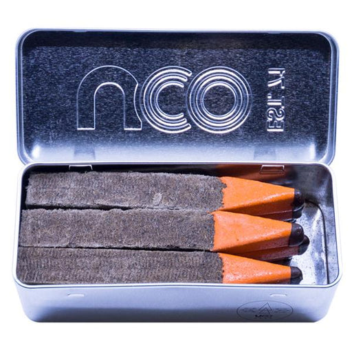 NCO Behemoth Stormproof Giant matches for fire starting and striking. The matches are an orange colour placed in a tin box with the NCO logo engraved.