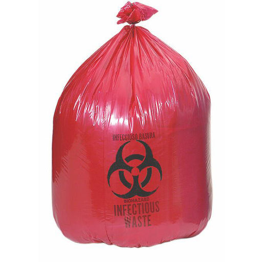 Bright Red Infectious Waste Biohazard Disposal Bag witht he Biological Hazard emblem in black on the bag.