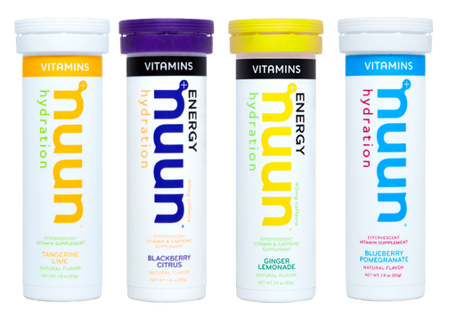 Nuun tangerine lime, blackberry citrus, ginger lemonade and blueberry pomegranate energy hydration tablet vitamins.