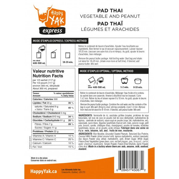 Back of package instructions and nutrtion facts of Happy Yak Pad Thai..