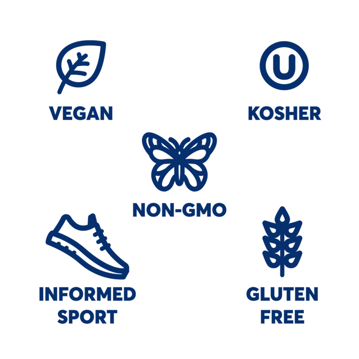Icons for Vegan, Kosher, Non-Gmo, Informed Sport and Gluten free. In blue.