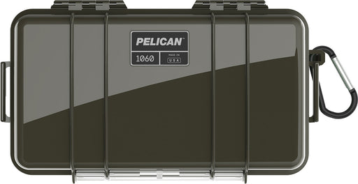 Pelican 1060 Micro Case in green with attached carabiner.