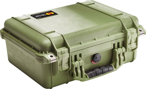 Pelican 1450 Protector Case in a kiwi green. The handle has a black rubberized grip, the latches are a hard plastic and the hardware around them is stainless steel.