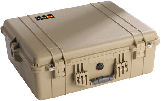 A beige coloured Pelican 1600 Protector Case for valuable equipment. The stainless steel hardware and black rubberized handle grip are shown.