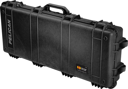 Pelican 1700 Rifle or Shotgun Case in Black with roller wheels on the right side for easy transport.