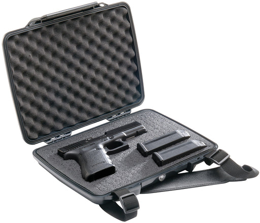 A glock pistol with 2 magazines in the Pelican p1075 Hardback Pistol Case.