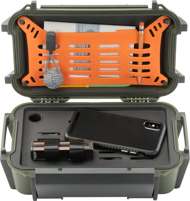 Pelican r60 Personal Utility Ruck Case with smartphone, powerbank, and in the top orange rubber storage area is a pencil and notepad.