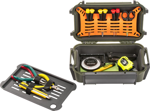 The Pelican R60 Personal Utility Ruck Case full of plyers, screwdrivers, a flashlight, box cutter, and folding knife.