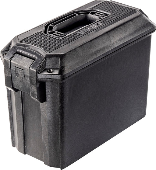 Pelican VCV250 Vault Ammo Case in Black. A large latch on the left side and concealable handle bar on the top.