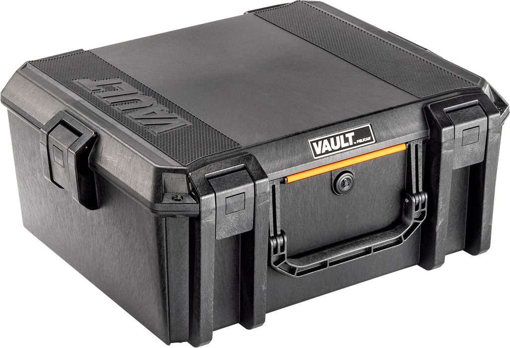 Pelican V600 Vault series gun case in black with an orange handle bar. The name Vault is engraved into the top of the case.