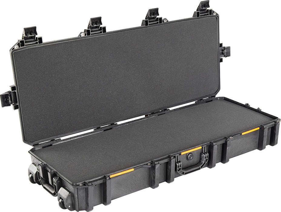 Pelican V730 Vault Series Tactical Rifle Case inner foam liner. The case is black with orange tabs on the side.