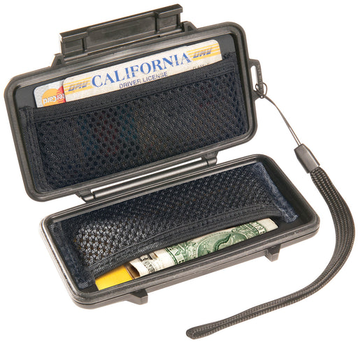 Pelican 0955 sport wallet with a california drivers license in the side mesh pocket and american cash. A lanyard is attached to the cases outer shell.