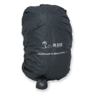 JR Gear Siliconized Rain Cover in Black with the JR Gear logo in light grey.