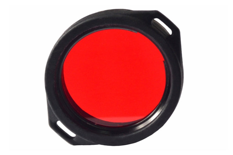front view of the Armytek red viking flashlight filter