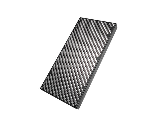 Carbon fibre Nitcore Nb10000 slim compact fast charging power bank. A checkered grey and black design.
