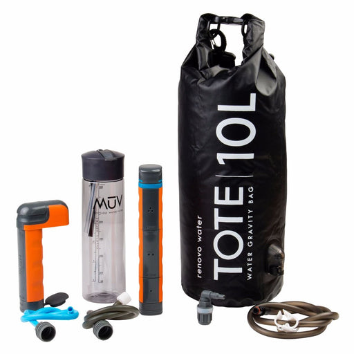 Muv Eclipse Water Filter System with a 10 L Tote bag in black. the filter replacements are orange and grey, the water bottle is a clear grey colour and the filtration hose is brown.