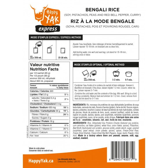 Happy Yak Bengali Rice Freeze Dried Food