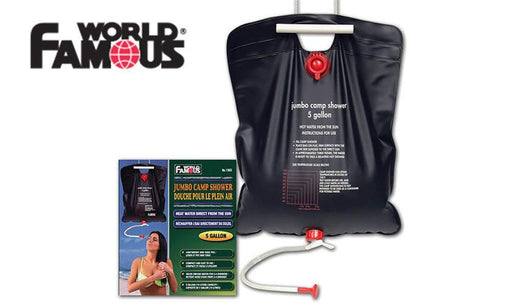 World Famous Jumbo Camp Shower with shower spout. The valves are a red colour and the water bag is black.