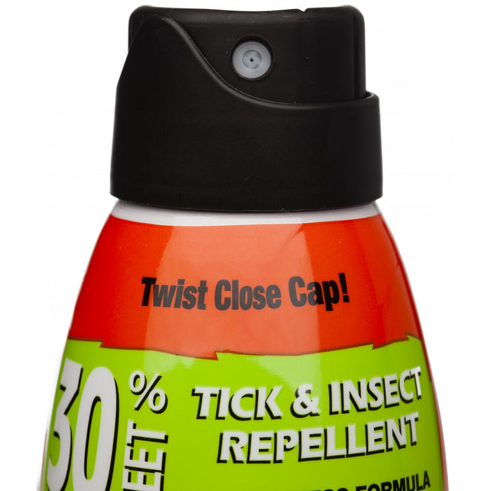Close up view of the black cap for bug spray canister. Description reads 'Twist Close Cap'