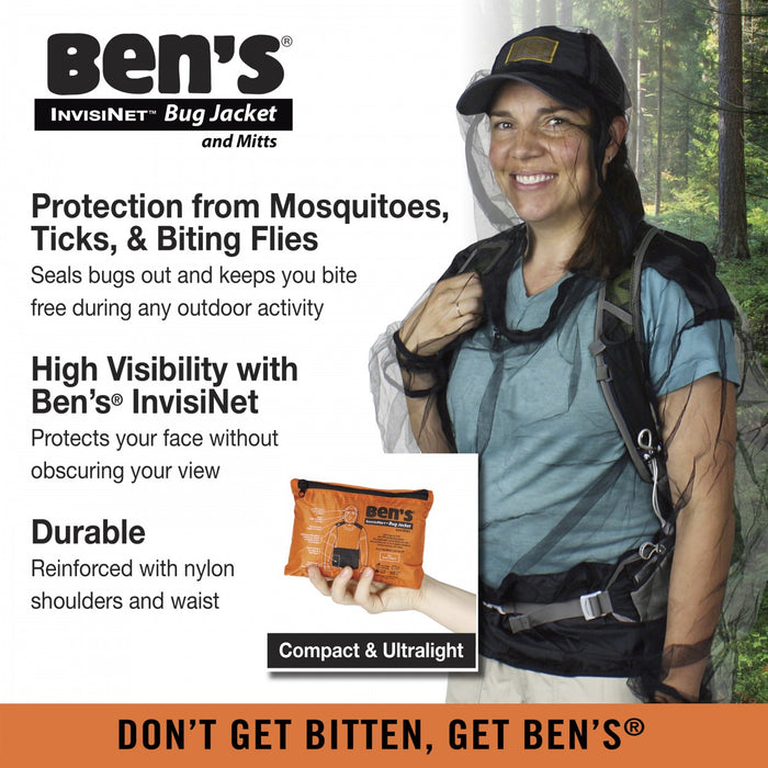 "Advertisement of the Ben's Invisinet Bug Jacket and Mitts with Descriptions: 'Protection from Mosquitoes, Ticks, & Biting Flies' 'High Visibility with Ben's InvisiNet' and ""Durable reinforced with Nylon.'"