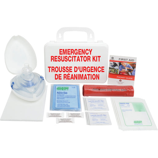 Emergency Resuscitator Kit 'Trousse D'urgence De Reanimation' with the resuscitator, guaze pads, sanitizing sachets, nitrile, smelling salts, and a dressing disposal bag laid out on a white background.